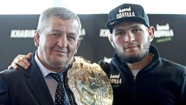 UFC champion Khabib Nurmagomedov with his father.(Getty Images)