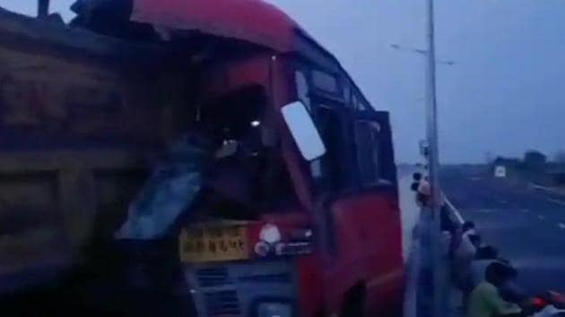The bus crashed into a truck from behind while trying to overtake.(ANI)