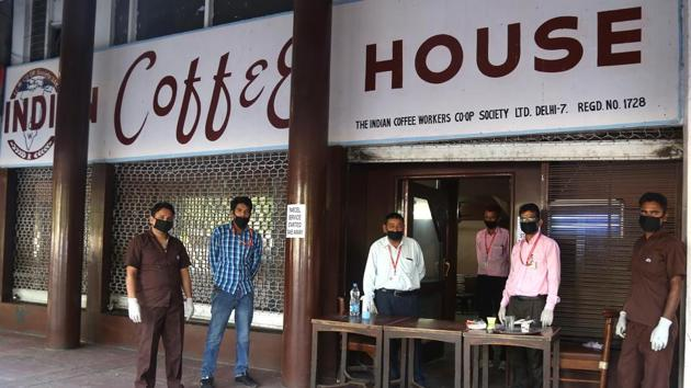 With restaurant business having gone bust for about two months now, several dine-in eateries such as Indian Coffee House in Sector 17, have adapted to provide delivery to offices in the vicinity, after the UT admin gave a nod for home delivery to begin on Tuesday.(Sanjeev Sharma/HT)