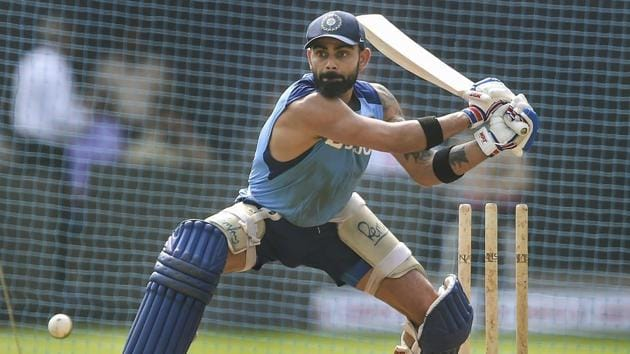 Indian captain Virat Kohli bats during a training session.(PTI)