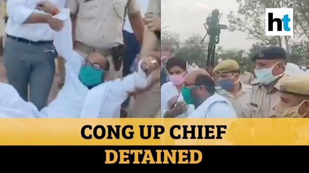 Uttar Pradesh Congress Committee president Ajay Kumar Lallu was detained on Tuesday for holding a dharna with partymen on the Bharatpur- Agra highway demanding that buses stranded on the border should be allowed to move towards Noida and Ghaziabad to be provided to district administration there. Along with Lallu, other party leaders Pradeep Mathur, Vivek Bansal were also detained. The Congress and the Yogi government have been involved in a tussle over the buses that the party proposed to provide in order to send stranded migrant workers home. Watch the video for more.