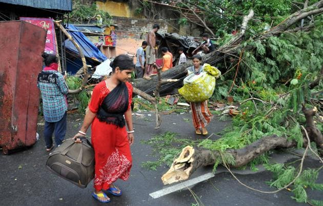 With roads blocked by fallen trees, hardly any traffic was seen and shops and markets, too, remained closed on Thursday in the aftermath of the storm.(PTI)