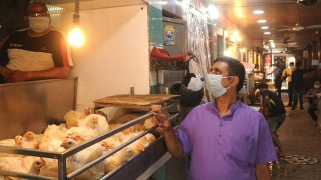Prices of chicken and mutton have risen by 20–40%, after taking a fall when the lockdown was first announced, say retailers at the meat market in Sector 21, Chandigarh on Thursday.(Keshav Singh/HT)