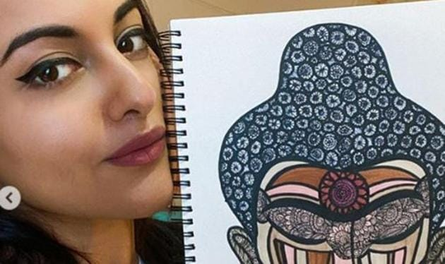 """Actor Sonakshi Sinha recently posted a video where she's drawing a portrait of Buddha. She captioned it, """"I love drawing faces, so decided to draw the most peaceful one - """"The Enlightened One""""(Photo: Instagram/aslisona)"""