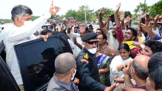 Chandrababu Naidu being greeted by his supporters as he returns to Amaravati. (HT Photo)