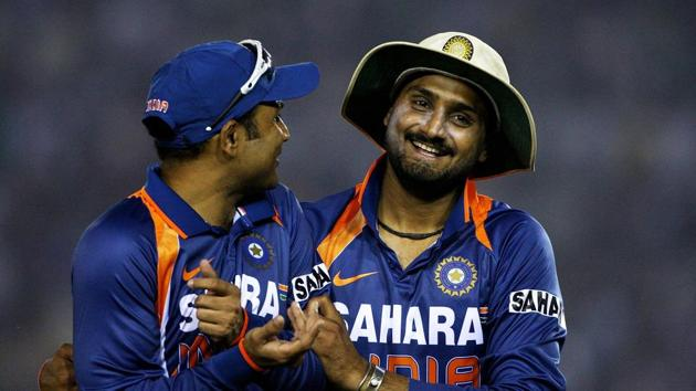 Harbhajan Singh (R) with Virender Sehwag during an ODI against Australia(Getty Images)