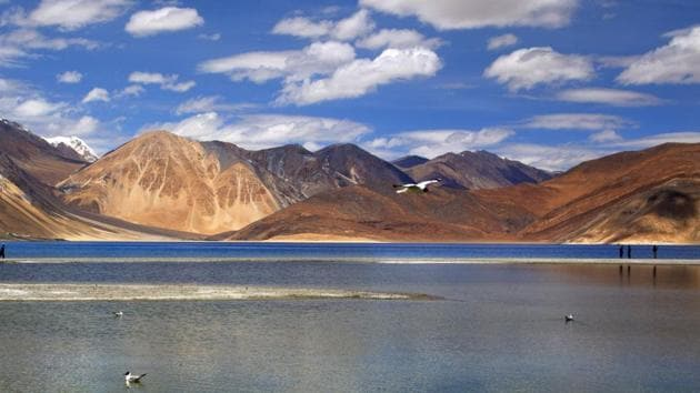Pangong Tso is one of the sites of the standoff between the Indian army and the Chinese People's Liberation Army(AP)