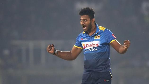 Sri Lanka's Shehan Madushanka during his T20I debut(AP Photo)