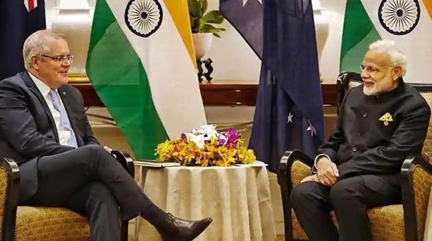 Prime Minister Narendra Modi with Australian PM Scott Morrison(PTI file photo)
