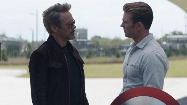 Chris Evans and Robert Downey Jr in a still from Avengers: Endgame.
