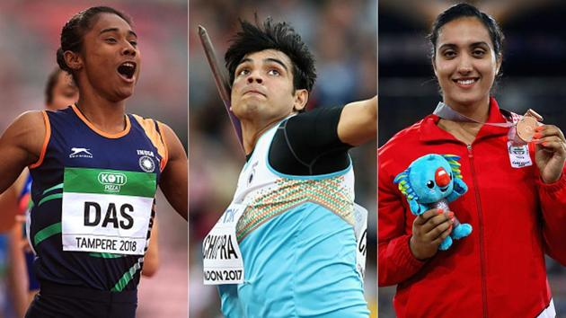 (L-R): Hima Das, Neeraj Chopra and Navjeet Dhillon(Getty Images)