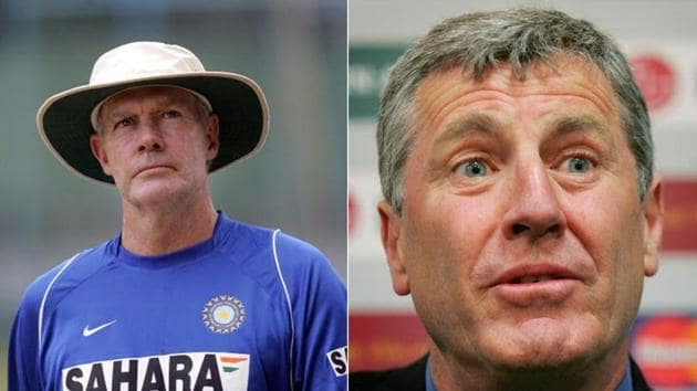 Greg Chappell (L) and John Wright were the first two foreign coaches of the Indian cricket team.(Getty Images)