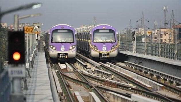 The Metro Railway had earlier said that strict social distancing norms would be maintained at every point from entry to travelling by the trains after recommencement of services. (Photo by Samir Jana / Hindustan Times)
