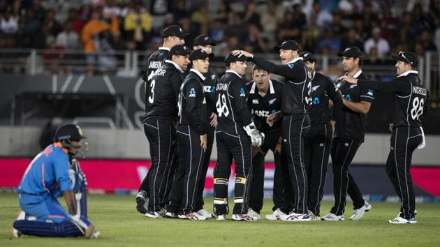 NZ Black Caps celebrate the wicket of India's Yuzvendra Chahal, during the One Day cricket international between India and New Zealand at Eden Park in Auckland.(AP)