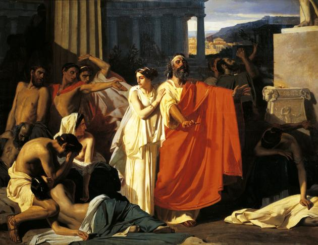 Oedipus and Antigone during the plague in Thebes, by Eugene-Ernest Hillemacher (1818-1887).(De Agostini via Getty Images)
