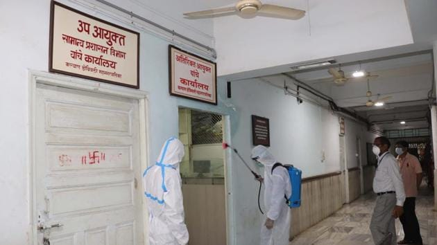 The KDMC headquarter being sanitised a day after an employee of health department tested Covid-19 positive, Kalyan, Maharashtra, May27.2020.(Rishikesh Choudhary / HT Photo)