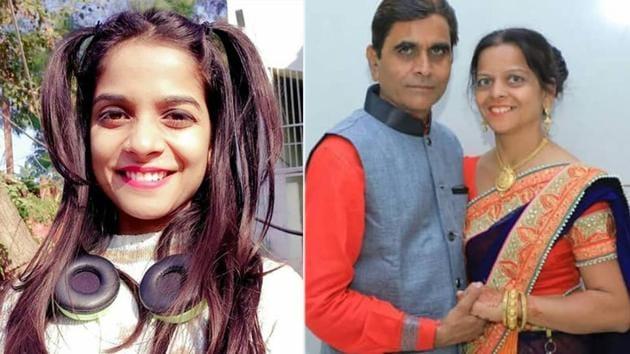 Preksha Mehta and her parents.