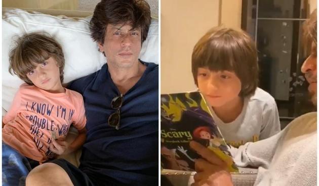 Shah Rukh Khan read to AbRam on his birthday.
