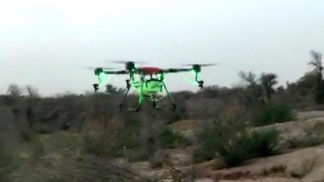 Agriculture departments are using drones to monitor the movement of the locusts at several places.(ANI Photo/Representative pic)