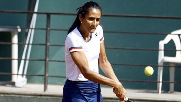 Rutuja Bhosale is one of the Pune players who played college tennis in the US and has since returned to a blooming pro tennis career.(HT PHOTO)