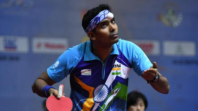 Sharath Kamal in action(Getty Images)