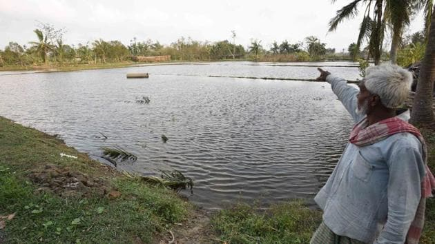 A man points towards a pond filled with saline water that has killed fresh water fish and was brought upstream due to Cyclone Amphan, at Kakdwip in the Sunderbans, South 24 Parganas district, West Bengal, India on Frisday, May 22, 2020.(Samir Jana / Hindustan Times)