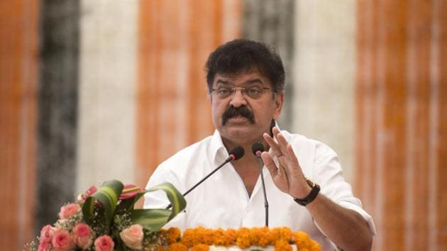 Maharashtra housing minister Jitendra Awhad said he considers himself lucky to have recovered so fast from the infection.(Satyabrata Tripathy/HT Photo)