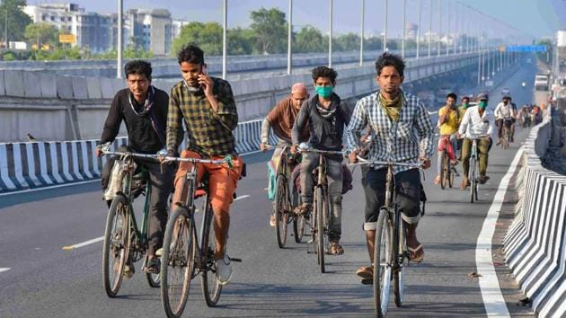 Many workers escaped the serfdom of villages and flocked to cities only to be forced to restart work in villages now(PTI)
