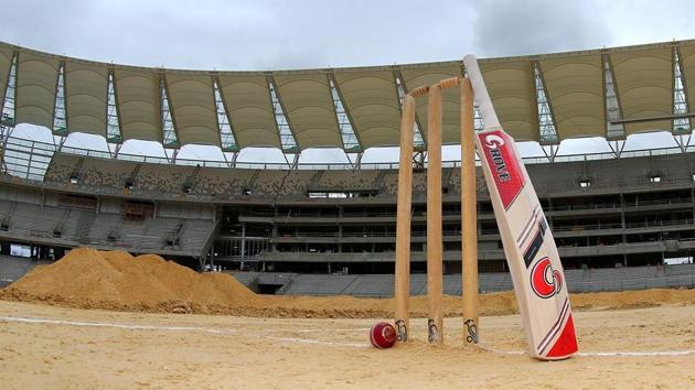 Cricket stumps, bat and ball are setup on the proposed wicket area during the new Perth Stadium Tour on October 29, 2016 in Perth, Australia.(Getty Images)