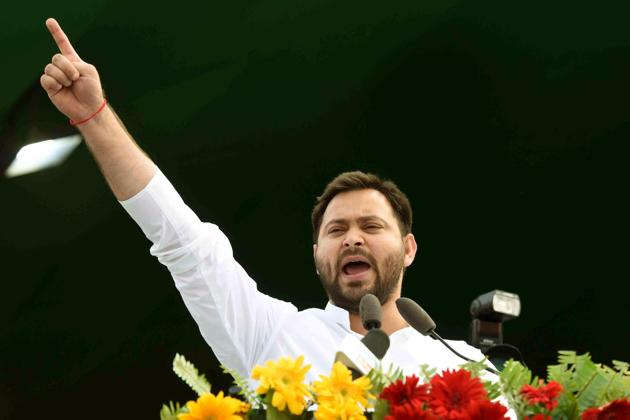 Tejashwi Yadav made the statement at a press conference that he convened in the morning at the residence of his mother and former chief minister Rabri Devi.(HT photo)