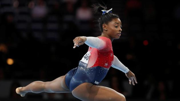 Artistic Gymnastics - 2019 World Artistic Gymnastics Championships - Women's Team Final - Floor - Hanns-Martin-Schleyer-Halle, Stuttgart, Germany - October 8, 2019 Simone Biles of the U.S. in action(REUTERS)
