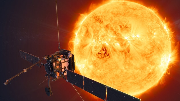An artist's impression of the Solar Orbiter facing the sun.(Image Credit: European Space Agency website)