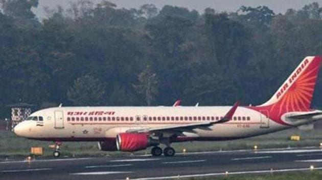 An Air India flight from Mumbai, carrying staff of Oil and Natural Gas Corporation, lands at Jay Prakash Narayan International Airport during the ongoing nationwide Covid-19 lockdown, in Patna, Friday, May 15, 2020.(PTI)
