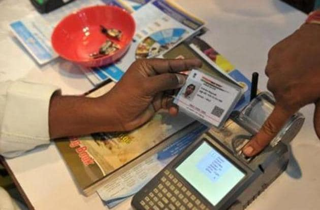 Aadhaar enrolment or update services were suspended by the government amid the Covid-19 pandemic since it involved thumb impression and iris scanning.(AFP)