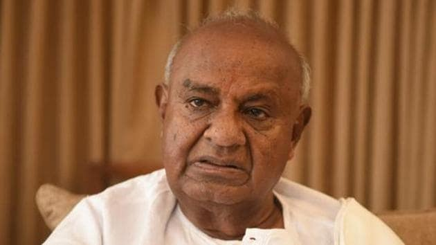 Deve Gowda also recalled his contribution as a trade union leader who led many pro-people and pro-farmer agitations.(Arijit Sen/HT Photo)