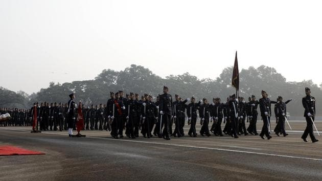 Dressed in immaculate uniforms, performing stringent drills at the Khetrapal ground and showcasing their various skills in front of their parents, friends, serving officers, veterans and others, is what cadets look forward to when they complete three years at the premier training institute.(HT FILE PHOTO)