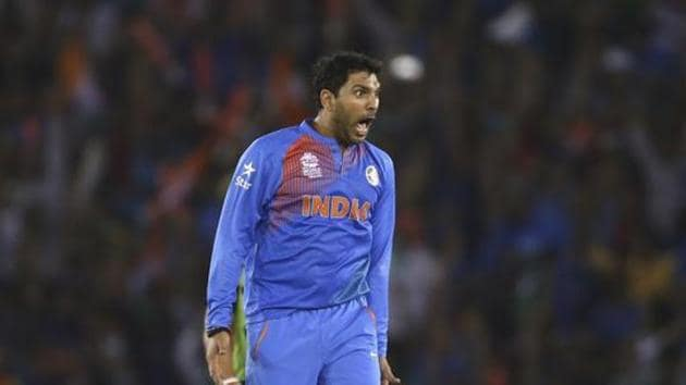 Yuvraj Singh of India celebrates after taking the wicket of Steve Smith of Australia during the ICC WT20 India Group 2 match between India and Australia at I.S. Bindra Stadium on March 27, 2016 in Mohali, India.(Getty Images)