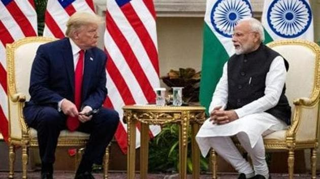 Prime Minister Narendra Modi with US President Donald Trump during a meeting at Hyderabad House in New Delhi in February 2020.(Reuters File Photo)