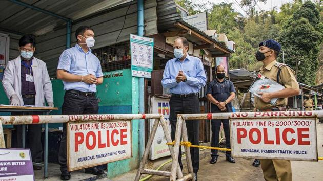 Arunachal Pradesh Chief Minister Pema Khandu carries out spot verification at Banderdewa check gate in Arunachal-Assam border to ensure that all points of entry into the state are fully equipped to detect any COVID-19 suspected cases, Saturday, April 18, 2020.(PTI)