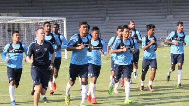 File photo of Indian football team probables during Thursday's training session at the Andheri Sports Complex in Mumbai.(AIFF)