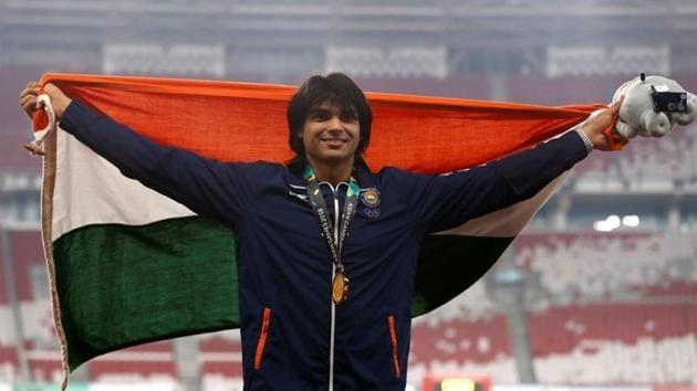 Gold medalist Neeraj Chopra of India.(REUTERS)