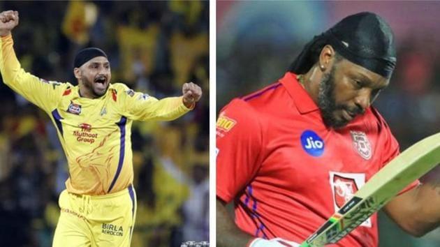 Harbhajan Singh with Chris Gayle.(HT Collage/IPL)