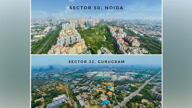 Paranomic View of Sector 50, Noida & Sector 22, Gurugram.