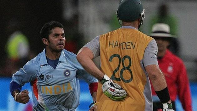 S Sreesanth is pumped after getting the wicket of Matthew Hayden(Getty Images)