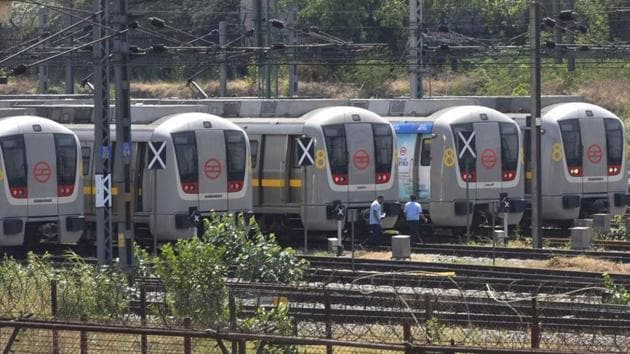 Metro services will remain closed for commuters until further notice, the Delhi Metro Rail Corporation (DMRC) said in a statement.(VIPIN KUMAR/HT PHOTO.)