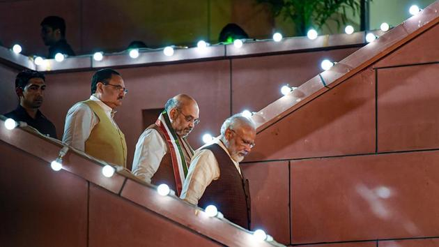 Prime Minister Narendra Modi arrives to address his supporters after the party's victory in both Haryana and Maharashtra Assembly polls, at BJP HQ, in New Delhi, Thursday, Oct 24, 2019. BJP President Amit Shah and BJP Working President JP Nadda are also seen.(PTI/ File photo)