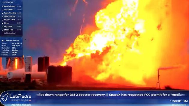 A prototype of SpaceX rocket Starship explodes during ground tests, in Boca Chica, Texas U.S., May 29, 2019 in this still image obtained from the social media video.(REUTERS)