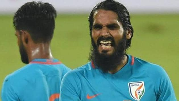 India captain Sandesh Jhingan celebrates after victory against Mauritius during the Tri -Nation Series International friendly match.(PTI)