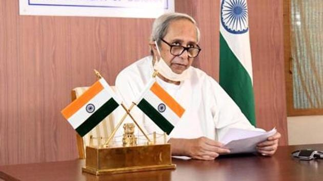 Chief minister of Odisha Naveen Patnaik during video conference meeting of chief ministers with Prime Minister Narendra Modi on Covid-19 situation.(ANI File Photo)