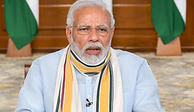 Prime Minister Narendra Modi during 5th meeting with the state chief ministers via video conferencing on Covid-19 situation on May 12, 2020.(ANI File Photo)